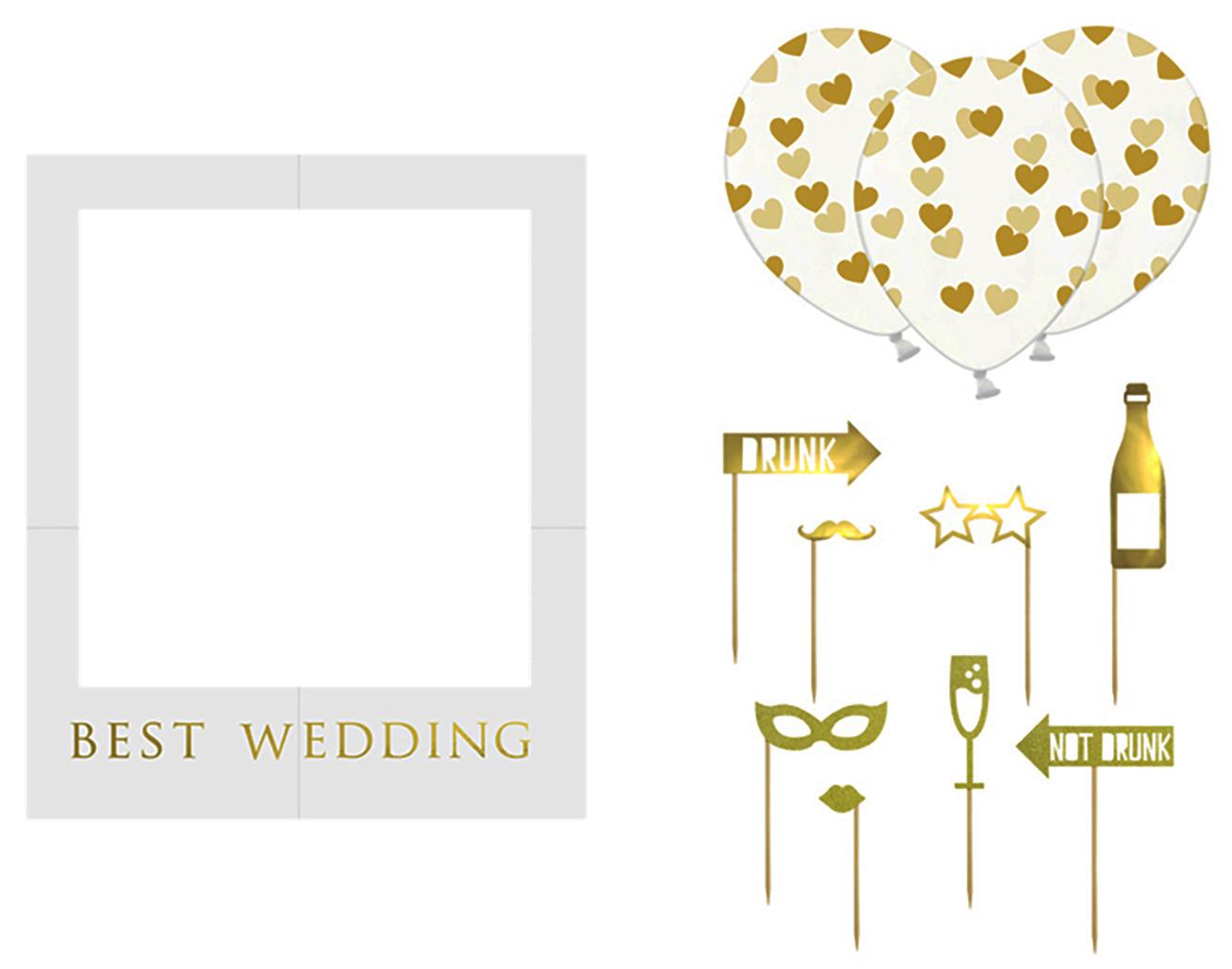 Selfie-Fotorahmen-Set für die Hochzeit oder JGA goldfarben