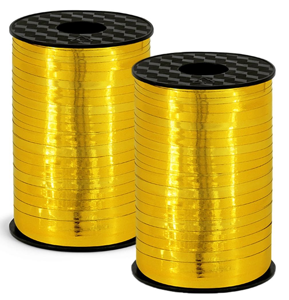 2er Set Polyband gold hochglanz Geschenkband Kräuselband Ringelband Ballonband 5 mm - 2x 225 Meter