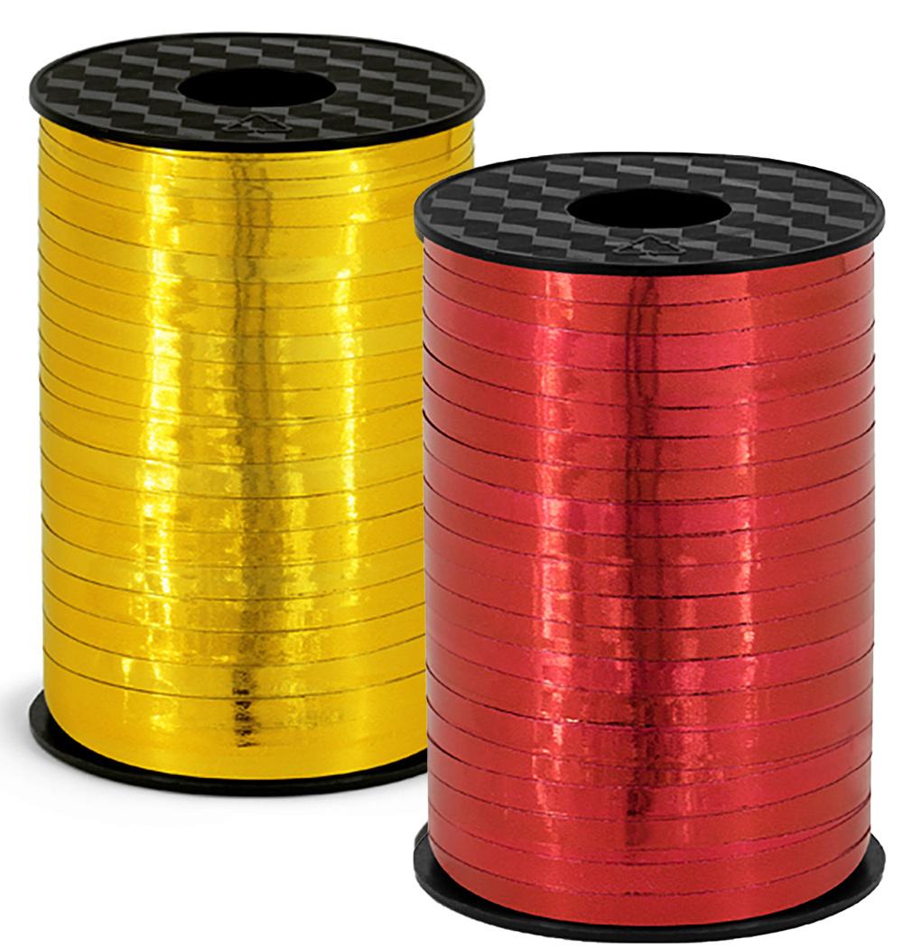 2er Set Polyband - 2x 225 Meter rot und gold - hochglanz für Geschenke oder Ballons