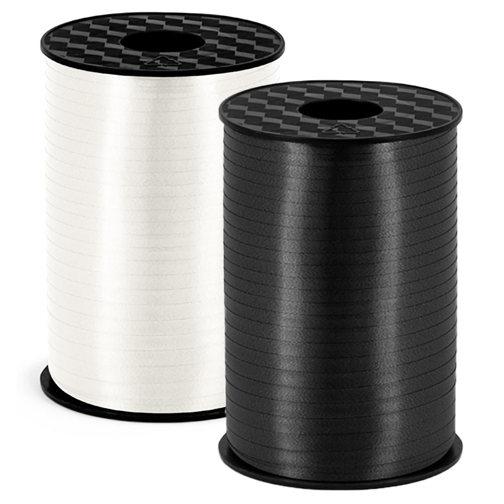 2er Set Polyband - 2X 225 Meter schwarz und Weiss - Geschenkband 5 mm Hochglanz