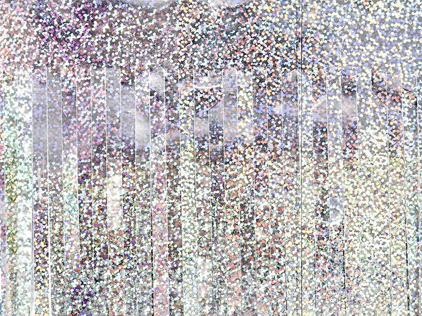 2x Party-Vorhang holografisch in Regenbogenfarben für Geburtstagsparty Partyraum Lametta-Vorhang