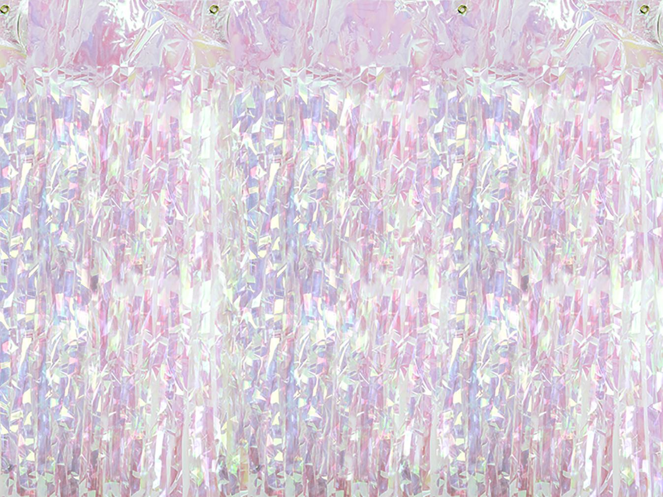 2x Party-Vorhang mit Regenbogenfarben-Effekt für Geburtstagsparty Partyraum Lametta-Vorhang