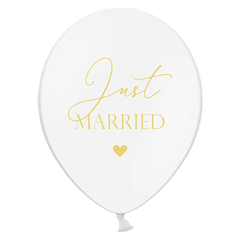 50 große Rundluftballons in weiss Rundballon Luftballon Just Married für die Hochzeit 50 Stück