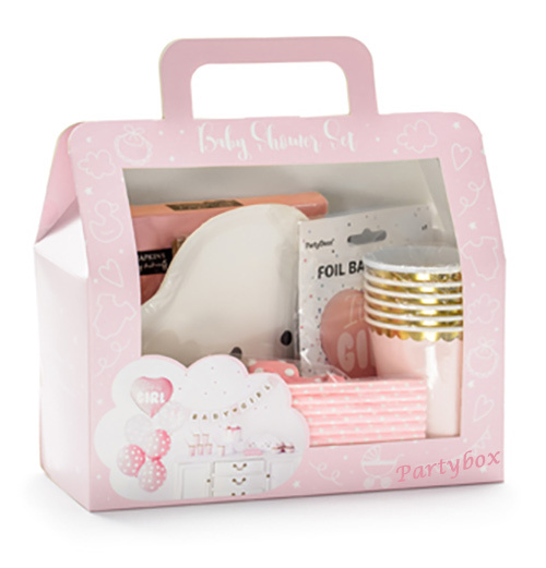 Babyparty-Deko Set Mädchen pink It's a Girl Komplett-Set 49 Teile