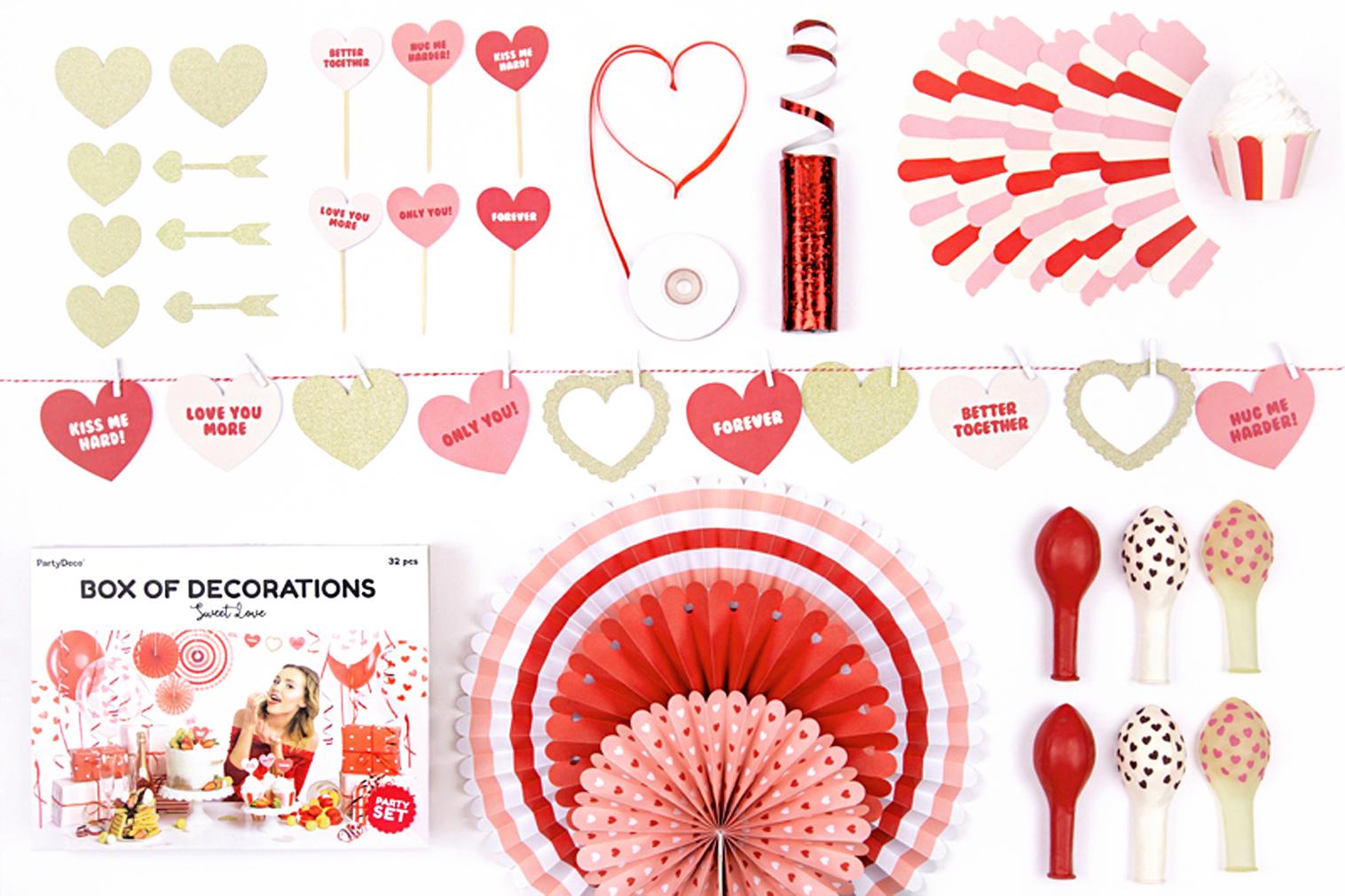 Party Set Valentinstag Liebe Geburtstagsparty sweet love Deko mit Herzen 32 Teile Herz-Party
