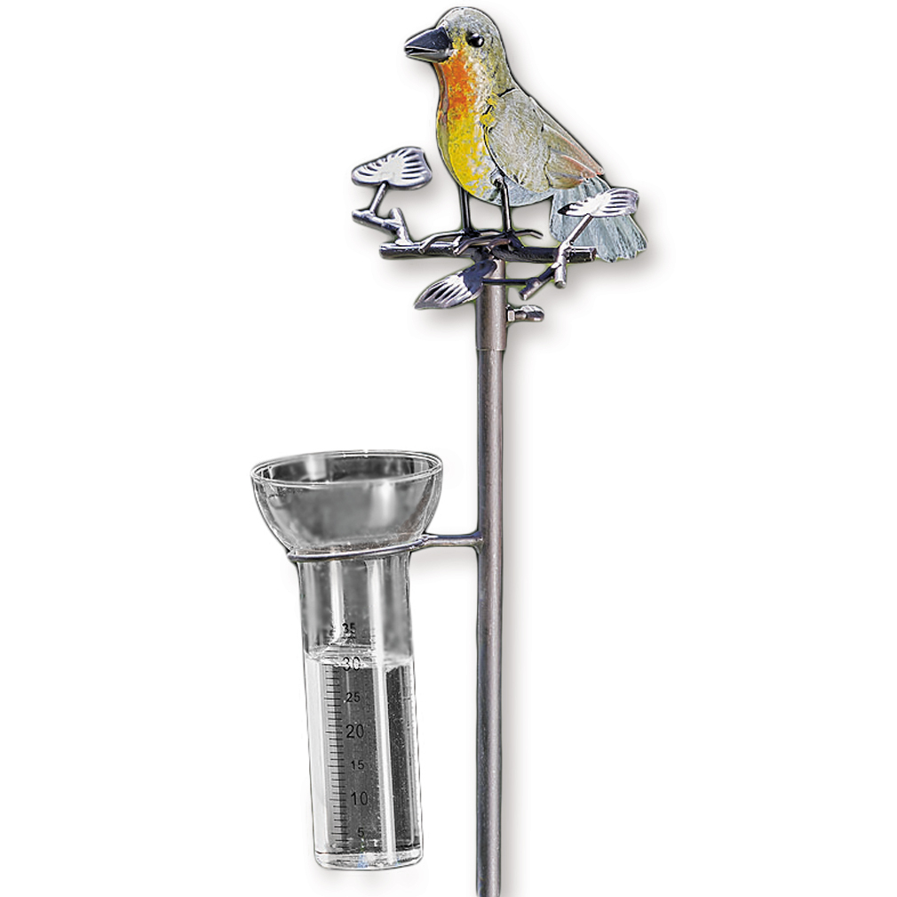 Regenmesser Vogel Metall / Gartenstecker Gartendeko bunt
