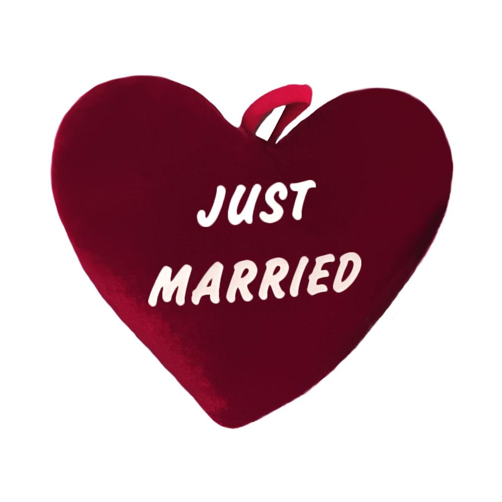 Herz Kissen Plüschkissen samt - Just Married - rot 50 cm