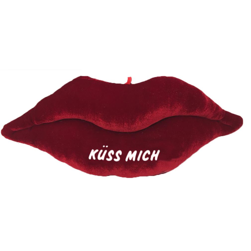 Kuss Kissen Plüschkissen samt lippen - Küss mich - rot