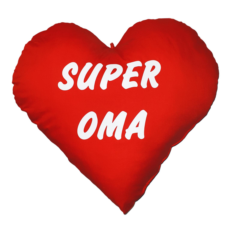 Herzkissen XXL Super Oma Kuschelkissen. Kissen-Herz für Oma-Geschenk