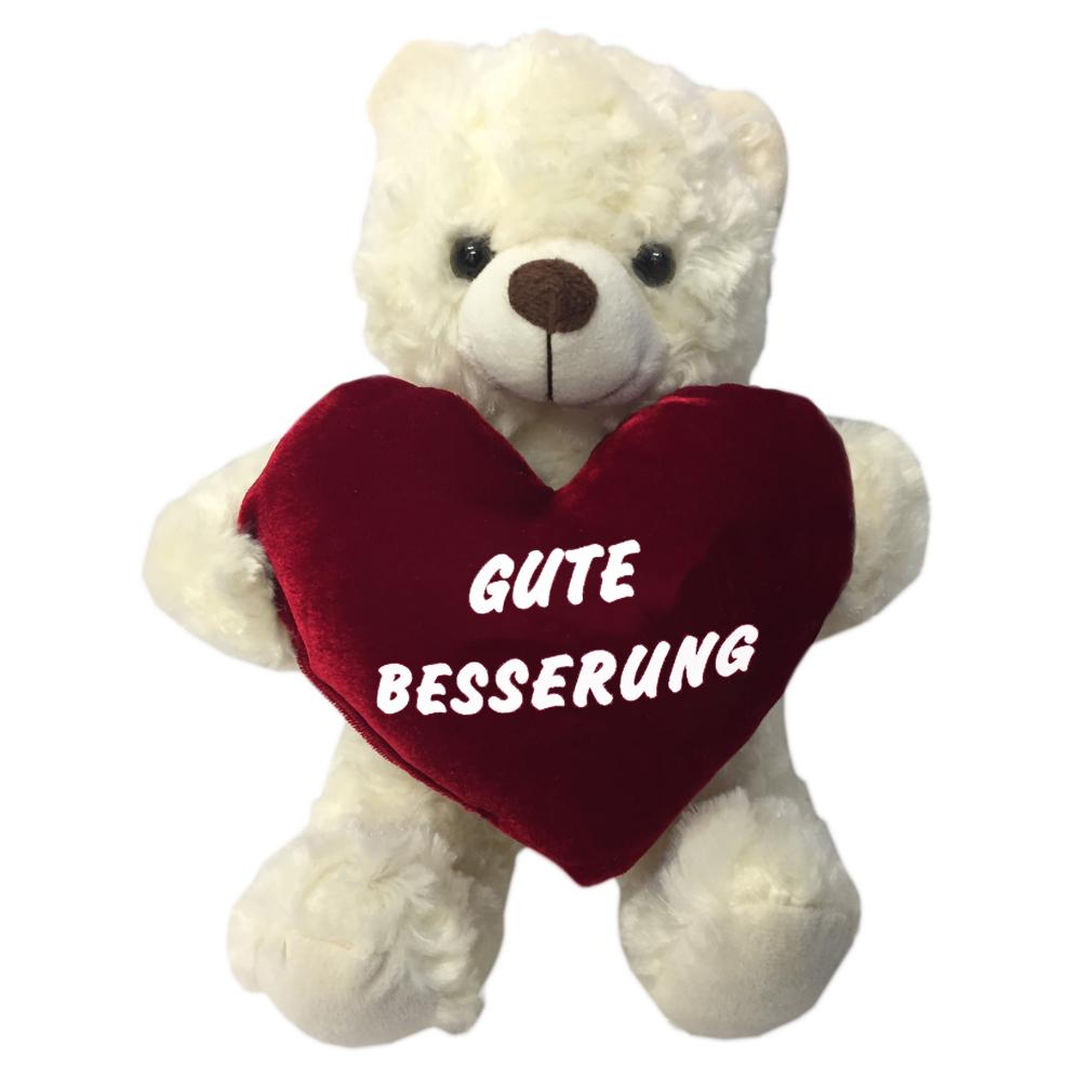 Plüsch-Bär Herz Kissen Teddy Kissenherz Samt flauschig gute Besserung