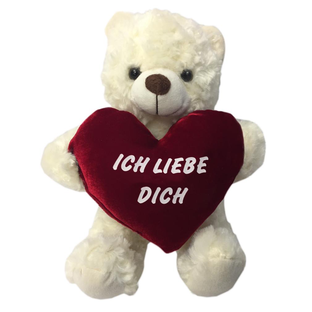 Plüsch-Bär Herz Kissen Teddy Kissenherz Samt flauschig ich liebe Dich