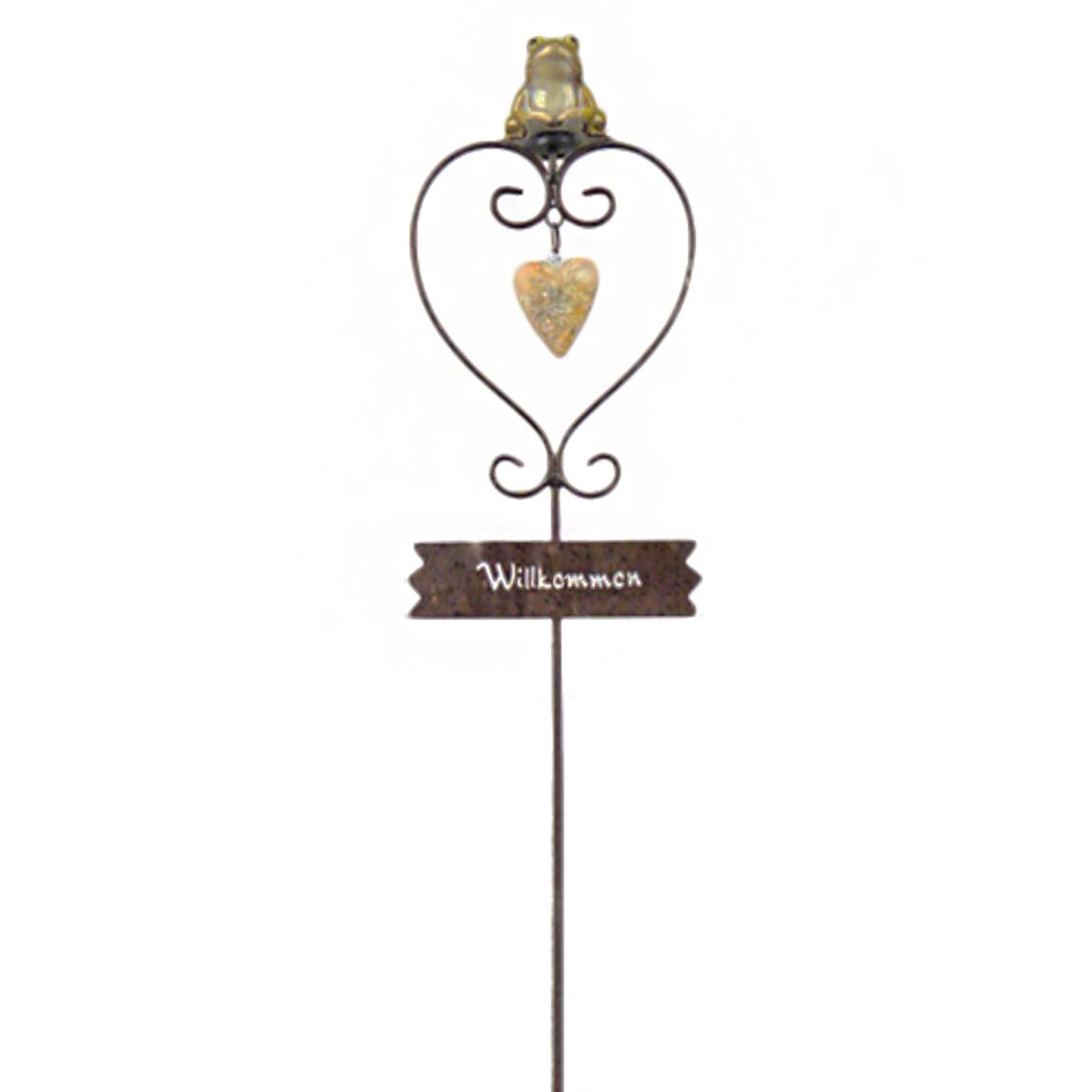 Gartenstecker - Frosch Herz mit Schild Willkommen Gartendeko Metall mehrfarbig