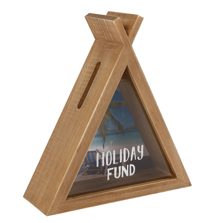 Spardose Sparbüchse Zelt Holiday Fund Holz mit Glasscheibe Sparschwein Holz-Natur