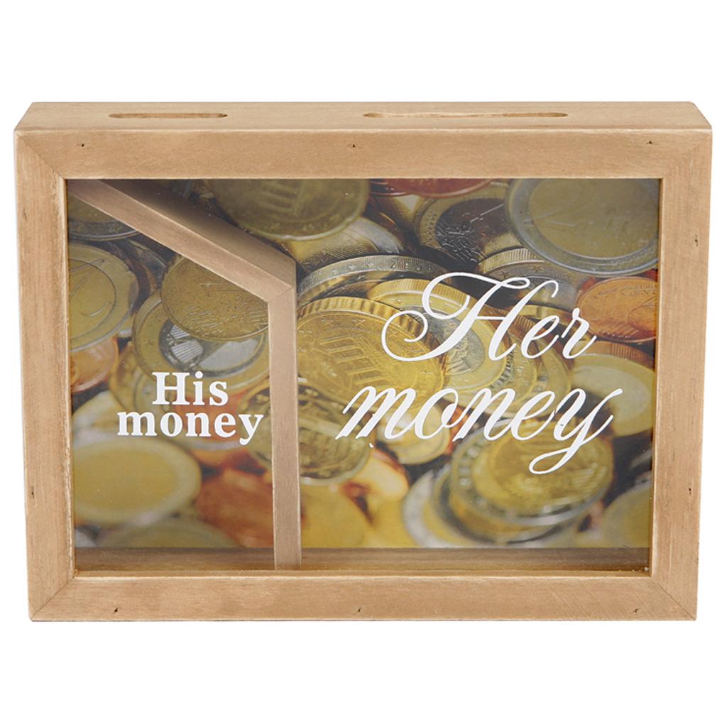 Spardose Sparbüchse Sparbox Her Money His Money Fund braun Sparschwein