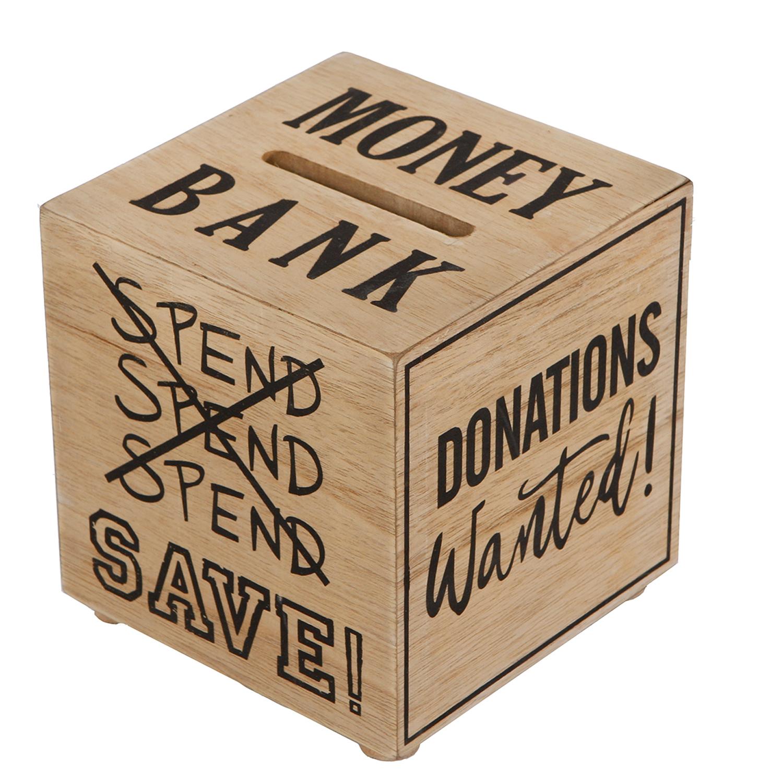 Spardose Sparbüchse Würfel Money Bank Holz Sparschwein Holz-Natur Sparbox