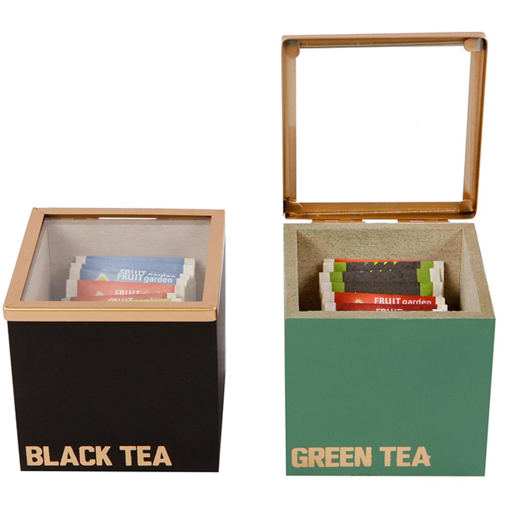 2er Set Teebox Holzschachtel für Teebeutel Holz Schwarz Grün Teedose