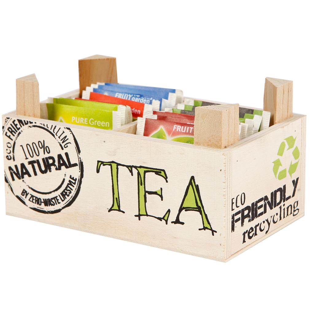 Teebox Holzschachtel für Teebeutel Holz Natural Eco Friendly
