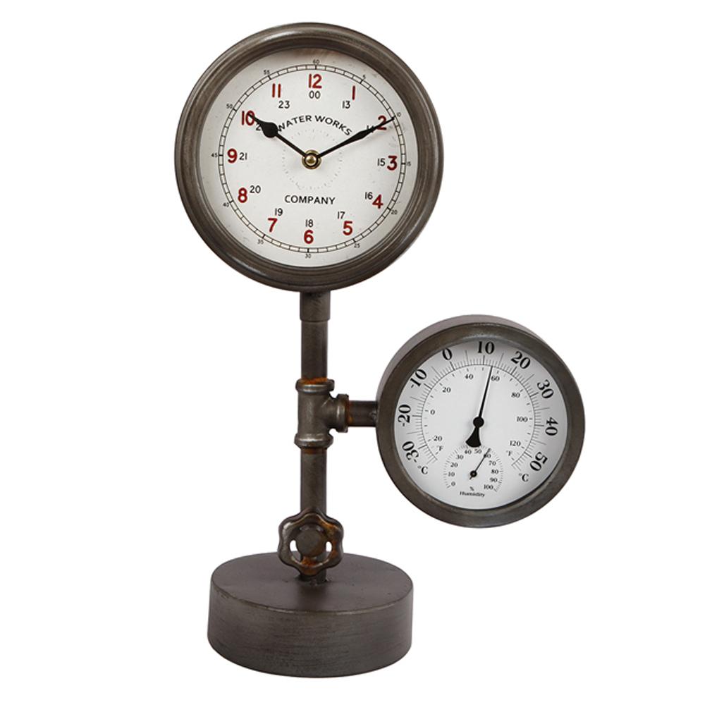 Standuhr Metall Dekouhr Thermometer Hydrometer Wasseruhr Design