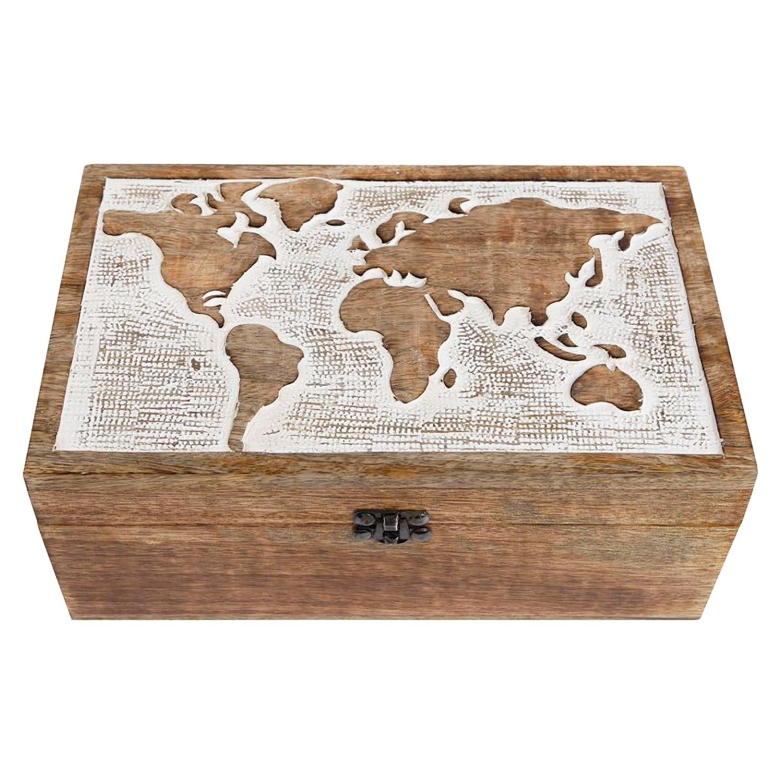 Große XXL Fotobox Mango-Holzbox mit Welt-Ornament Schatulle Bilder-Box Schmuck-Box