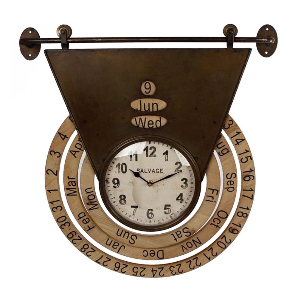 Wanduhr Deckenuhr Shabby - Metall - Uhrwerk Dekouhr Nostalgie Modell rost mit Dauerkalender