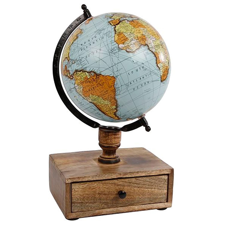 Globus Weltkugel Welt Weltkarte Vintage Holz mit Schublade Erde