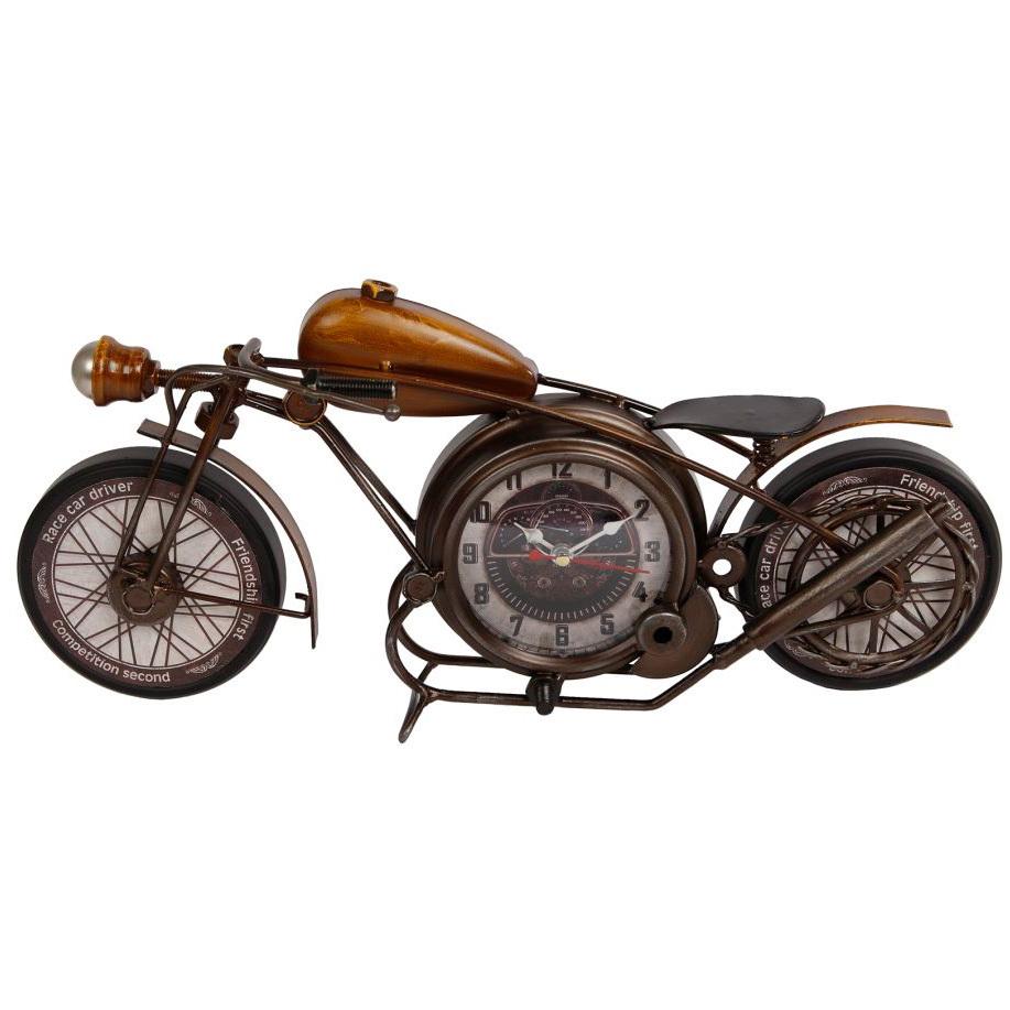 Motorrad + Uhr Antik Tischuhr Standuhr Metall Uhrwerk Dekouhr Nostalgie Modell