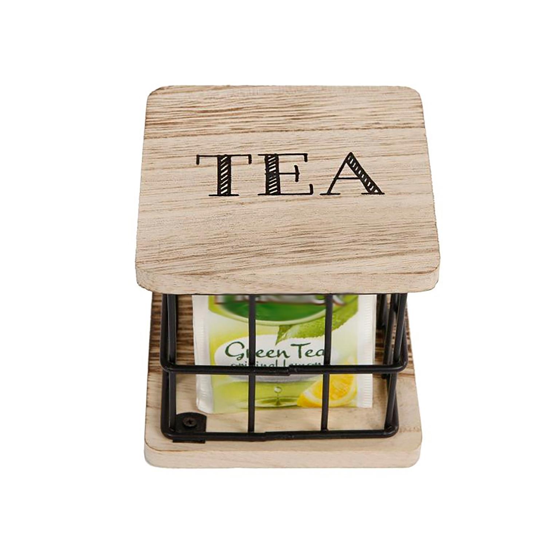 Kleine Tee-box für Teebeutel Metall Gitter schwarz Teedose - TEA mit Holzdeckel