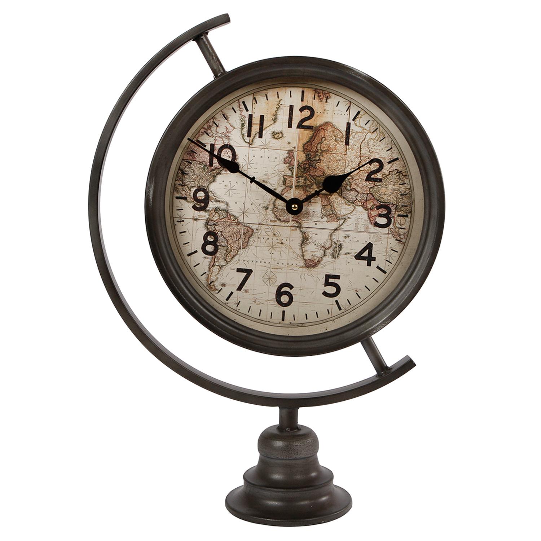 Große Standuhr Weltkarte Antik Uhrwerk Nostalgie Uhr anthrazit Metall historisch