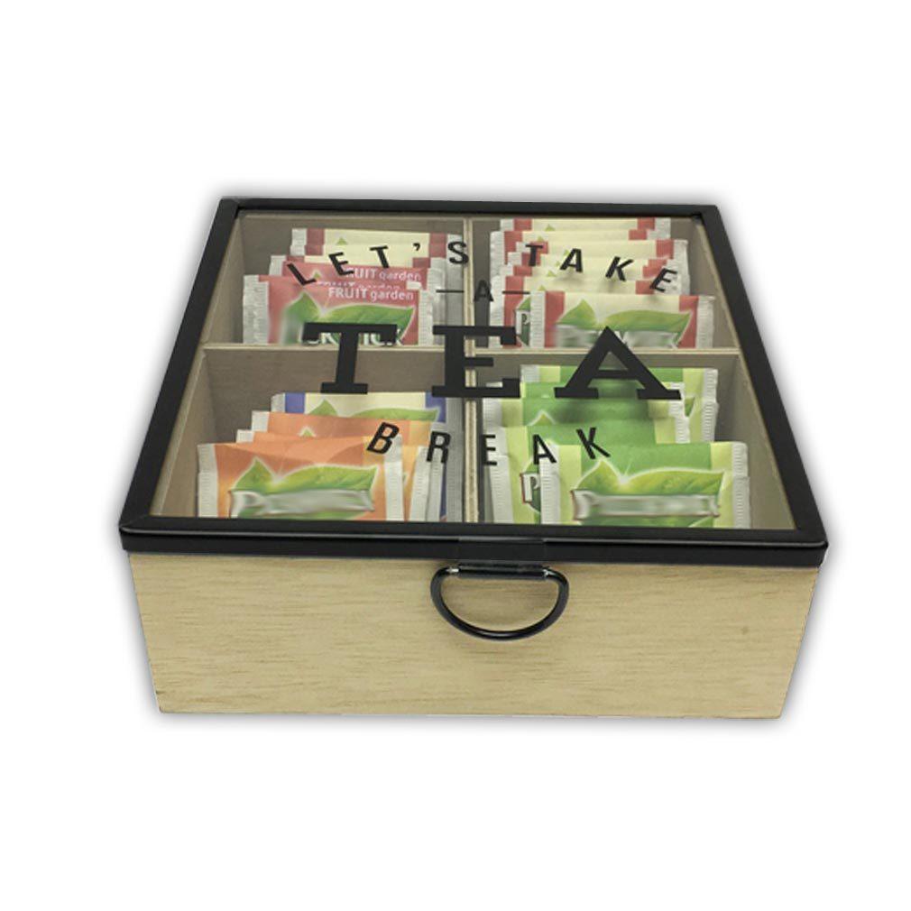 Holzbox Teebox für Teebeutel Holz hellbraun Teedose - LET'S TAKE A TEA BREAK mit Glasdeckel