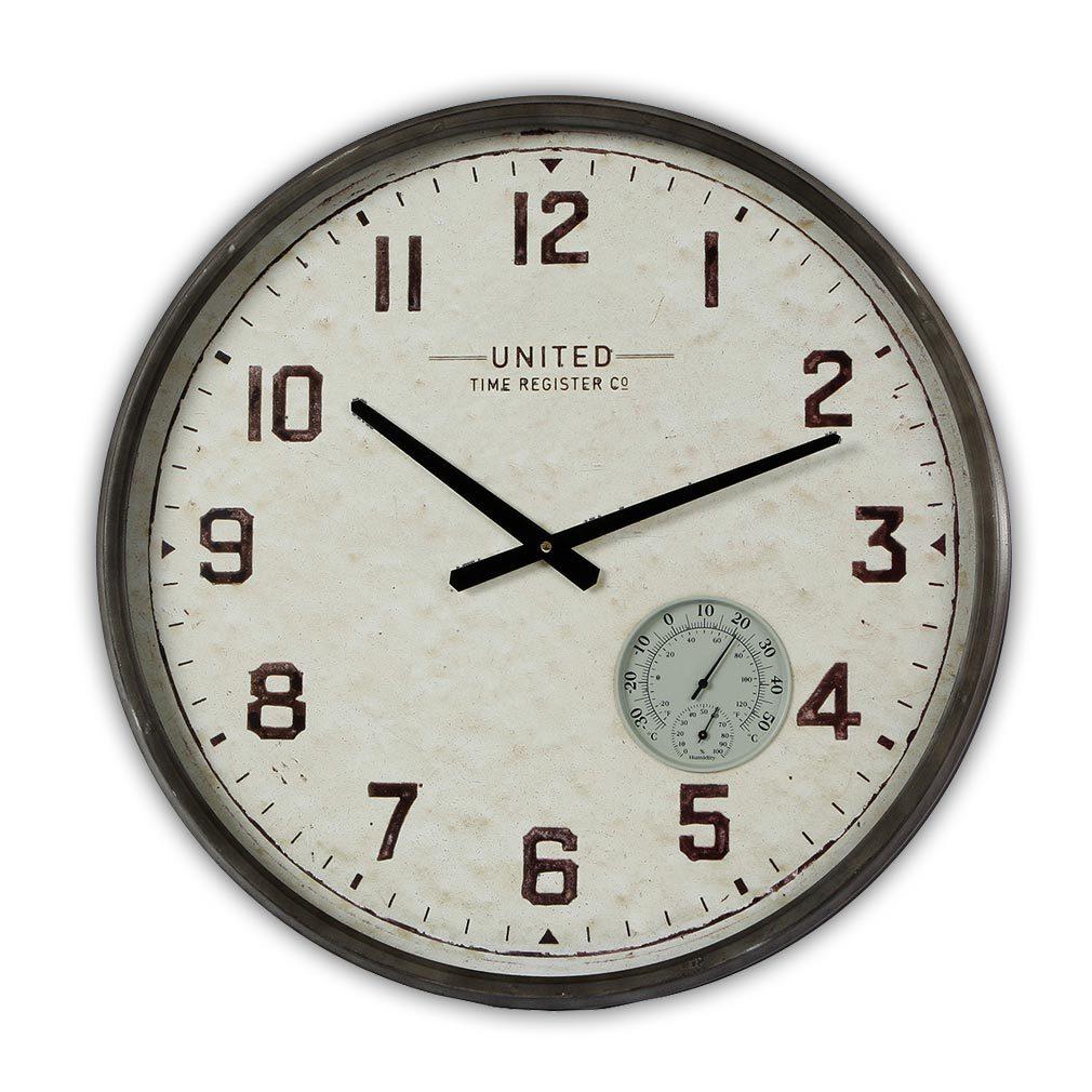 Wanduhr Shabby - Metall - Uhrwerk Dekouhr Nostalgie Modell grau rost