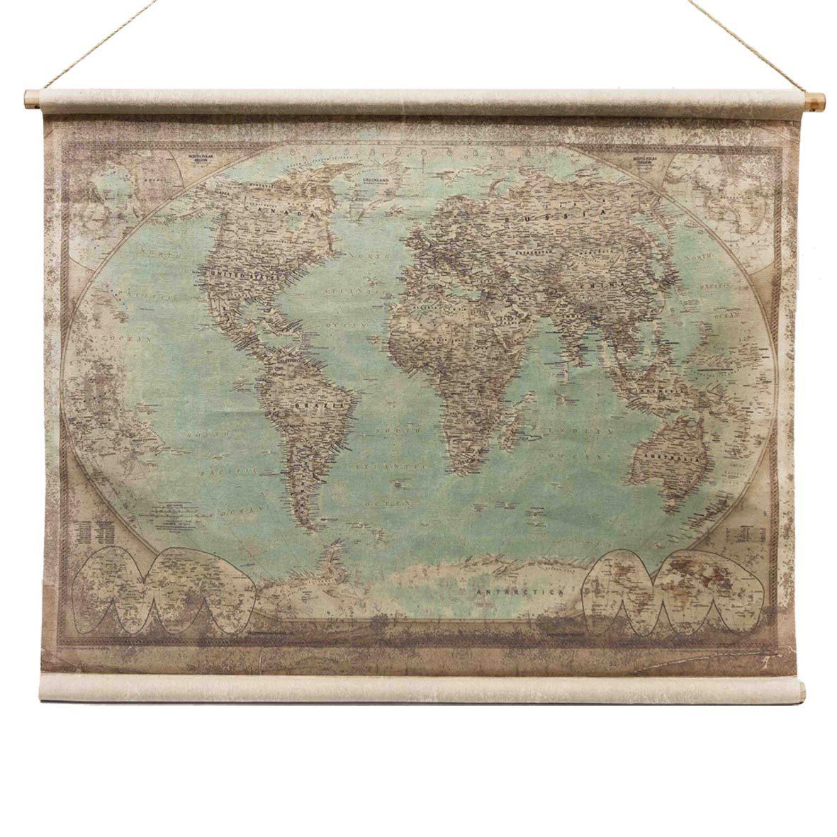 weltkarte antik globus stil wandkarte aus leinen. Black Bedroom Furniture Sets. Home Design Ideas
