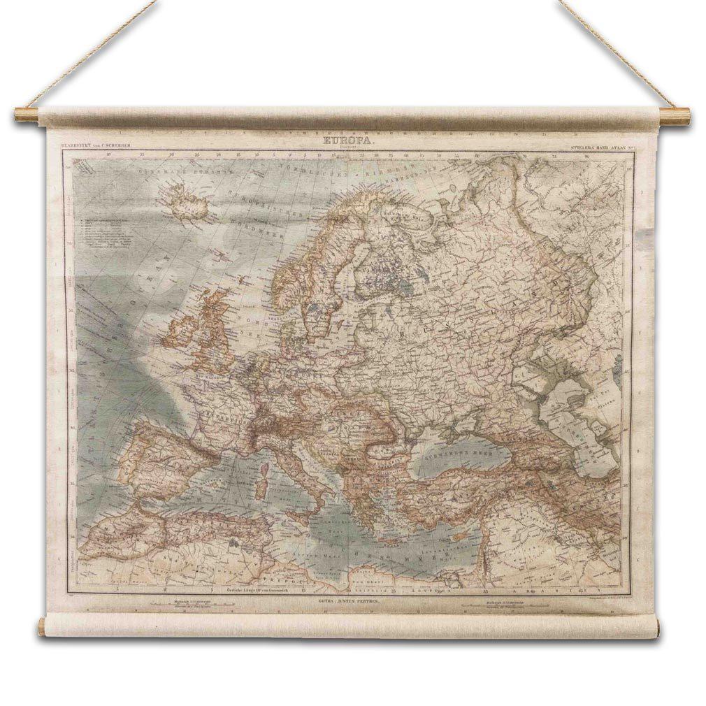 Europakarte Antik Europa - Stil Wandkarte aus Leinen Leinwandbild Vintage Historisch