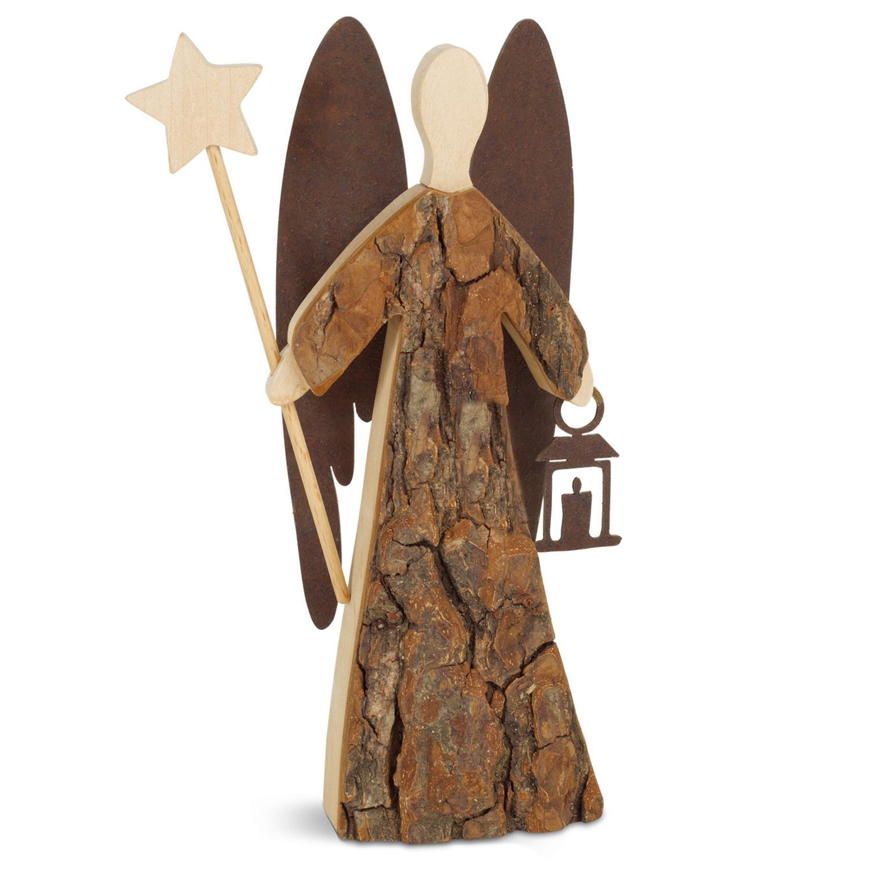 Himmelsbote Engel Aufsteller mit Herz Dekoration Holz mit Rinde natur mit Laterne