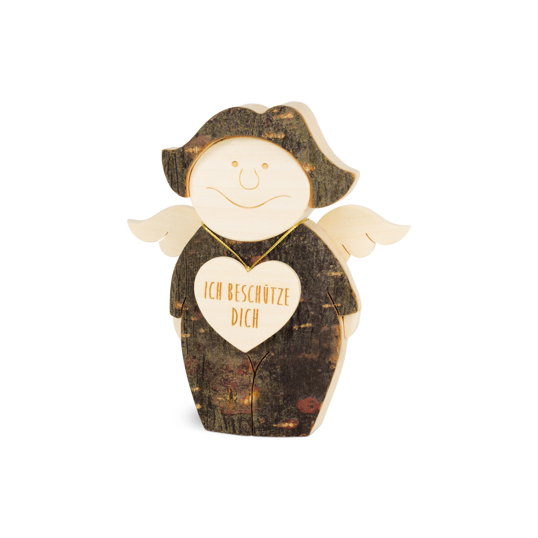 Engel Aufsteller mit Herz Schutzengel Dekoration Holz mit Rinde natur Engelfigur